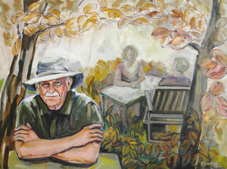 zelfportret in de boomgaard